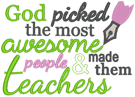 Awesome Teachers Embroidery, 4x4, 5x7, 6x10