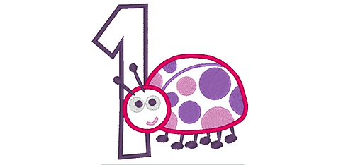 Lady Bug Embroidery Design for First Birthday - 5x7 4x4