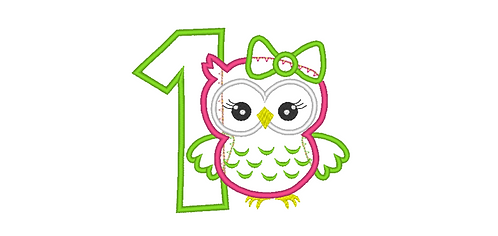 Owl Applique with Bow for 1st Birthday 4x4, 5x7