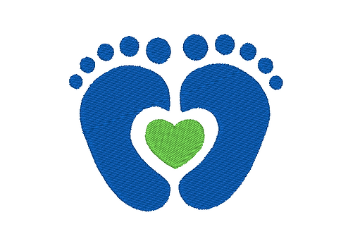 Baby Feet Filled Embroidery with heart at soles - New Baby 4x4