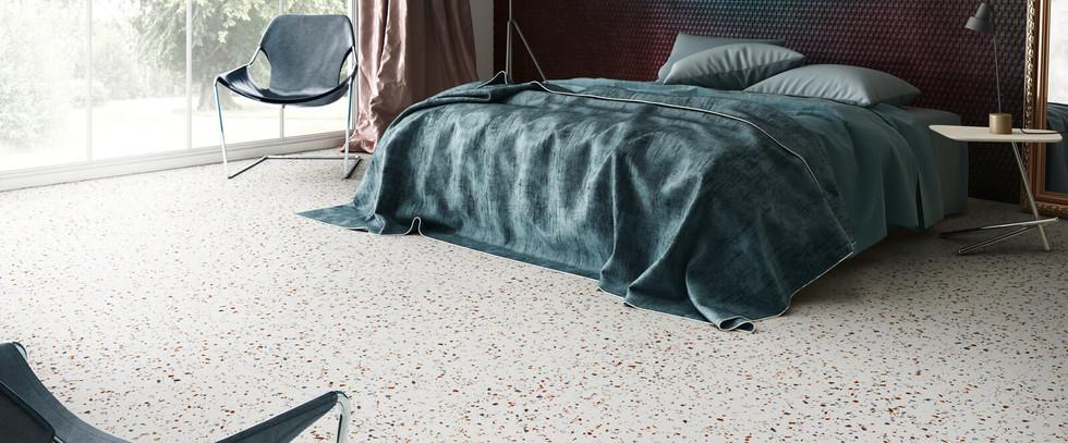 South White Hexagon DormitorioTerrazzo S
