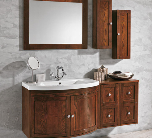 Stefania Dark Wood Bathroom Vanity Unit