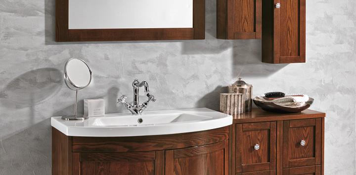 Stefania Dark Wood Bathroom Vanity Unit