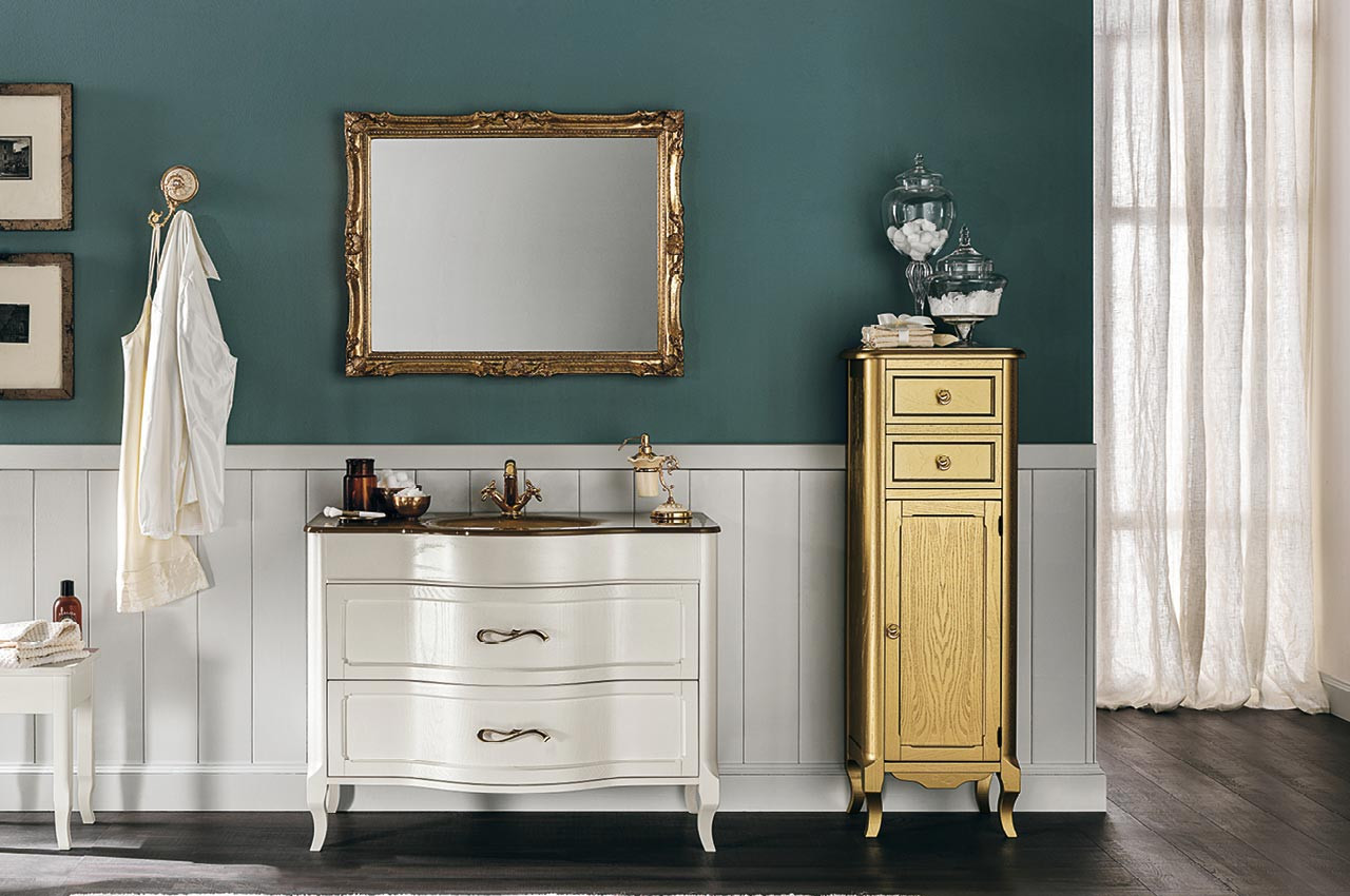 Rachele Classic Pearly White with Gold Vanity Unit