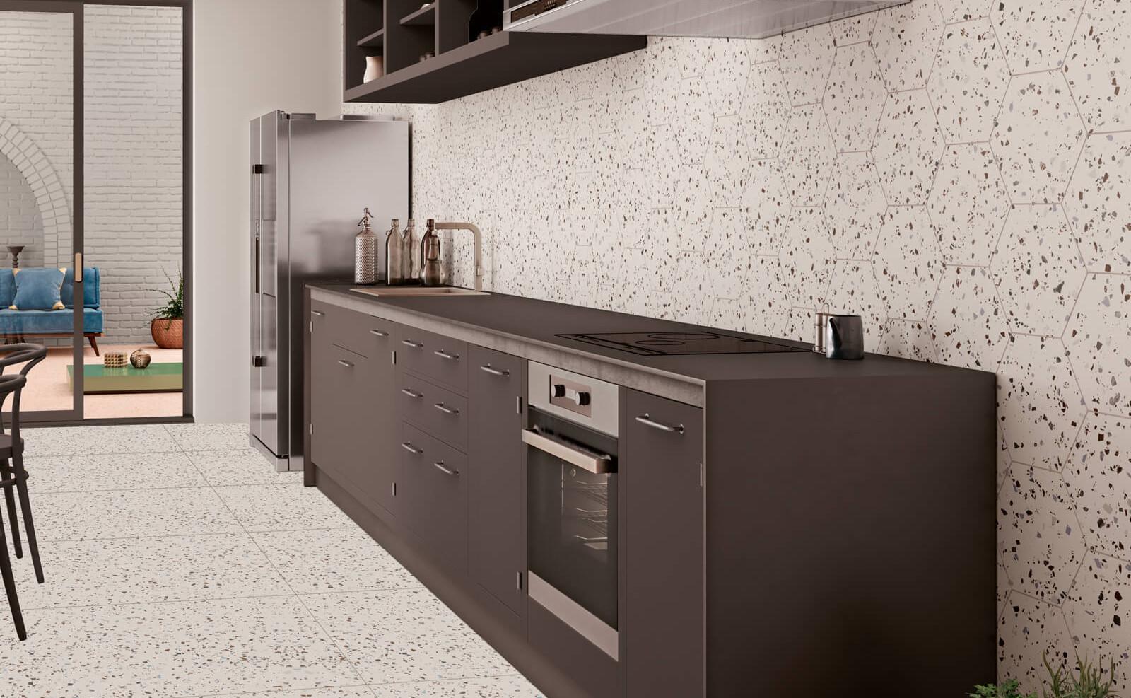South White Hexagon Terrazzo Style Tile