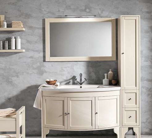 Stefania Cream Finish Bathroom Vanity Un