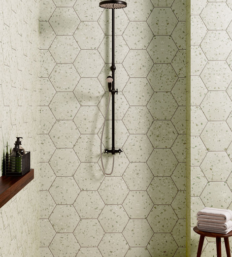 South Green Hexagon Terrazzo Style Tile