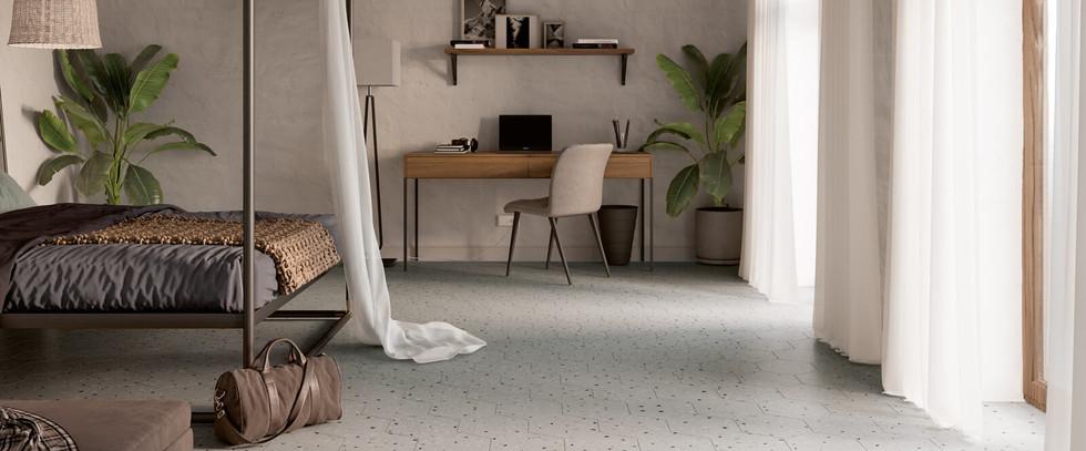 South Grey Hexagon Terrazzo Style Tile