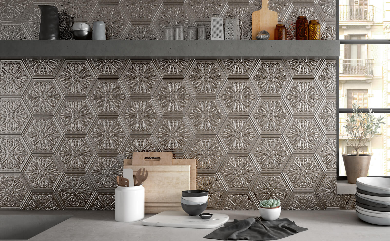 Zinc Silver Hexagon Metal Tiles
