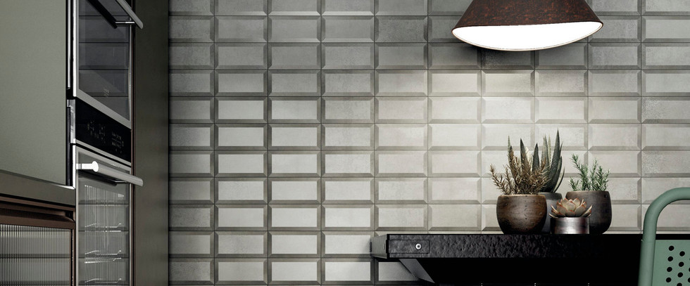Diesel Living Metal Perf Flamed Tiles