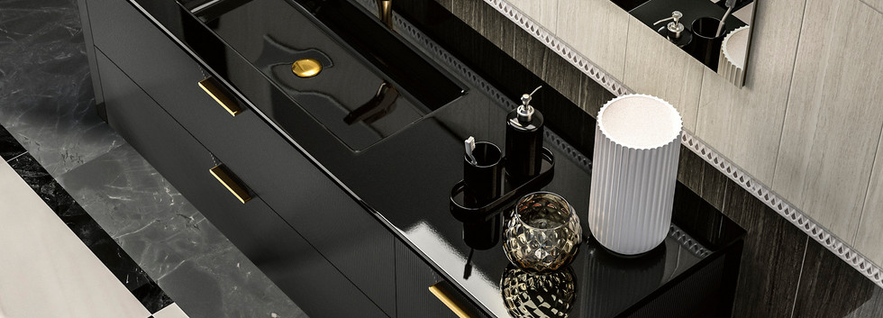 Lame Black Wall Hung Vanity Unit