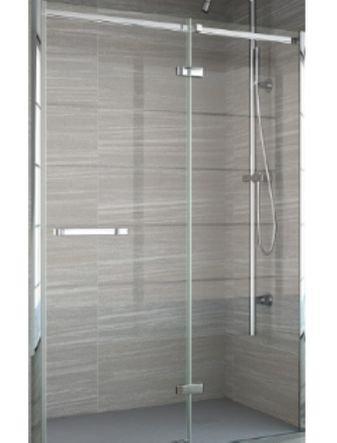 Frameless Hinge & Inline Shower Door + Tray 900mm