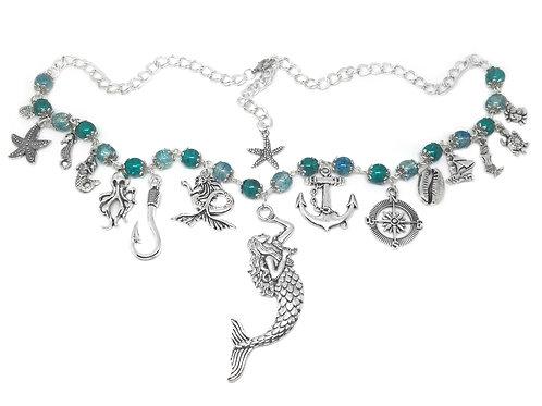 Ocean Bead Mermaid Charm Necklace