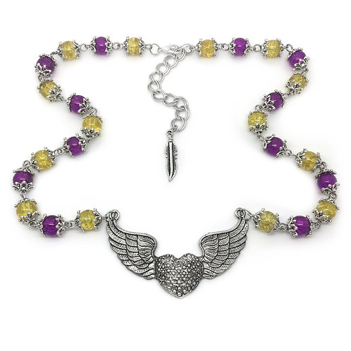 Winged Heart Purple & Yellow Beads Necklace
