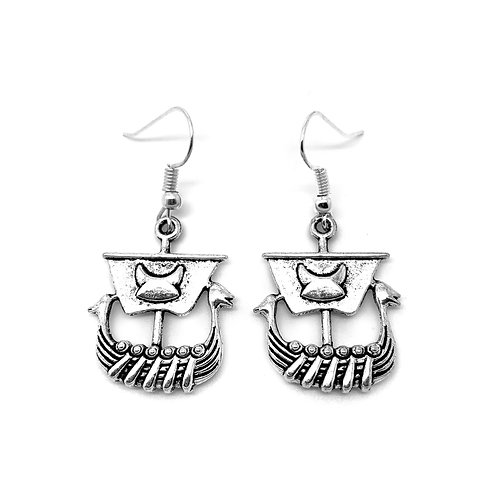 Viking Ship Charm Earrings