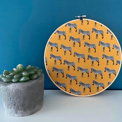 Mustard Zebra Fabric Wall Art Hoop