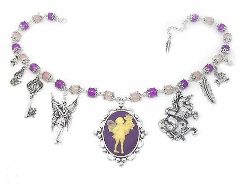 Purple Fantasy Themed Charm Necklace