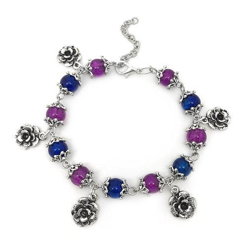Blue & Purple Flower Bead Charm Bracelet