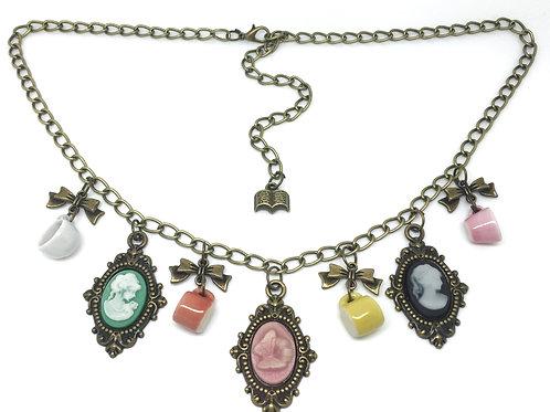 Vintage Style Cameo & Ceramic Teacup Necklace