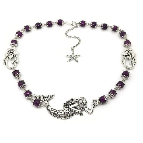 Deep Purple Mermaid Flower Necklace