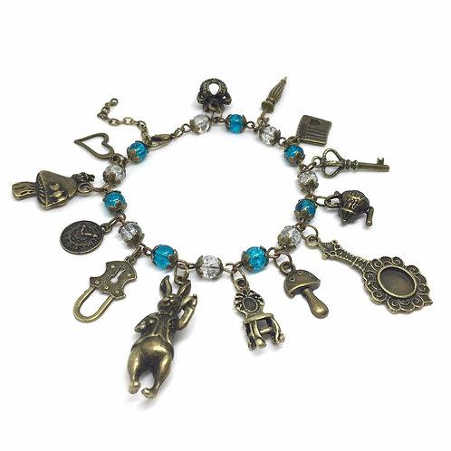 Blue & Clear Beaded Alice Charm Bracelet