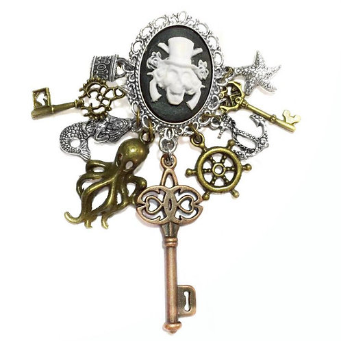 Pirate Cameo Charm Brooch