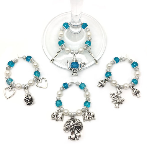 Alice In Wonderland Set of 4 Wine Glass Charms