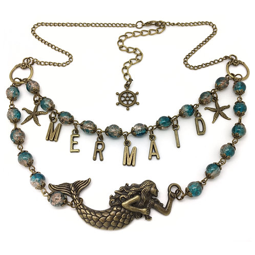 Teal Mermaid Charm Necklace