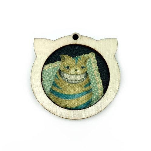 Cheshire Cat - Dark Alice In Wonderland Fabric Necklace