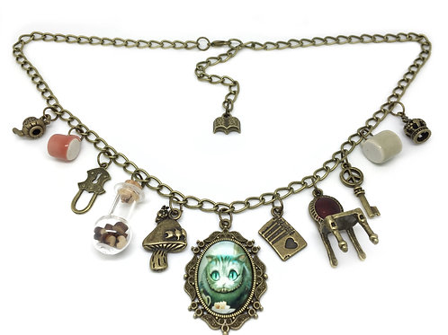 Alice in Wonderland Quirky Oval Charm Necklace