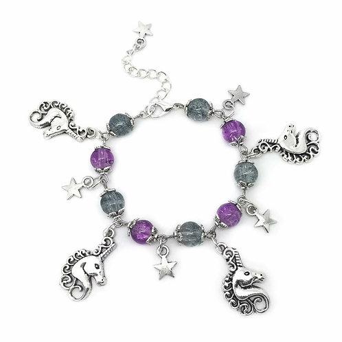 Children's Purple Unicorn Charm Bracelet
