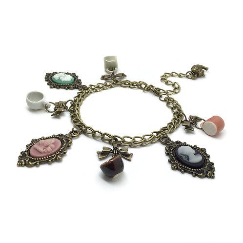 Vintage Style Cameo & Ceramic Teacup Bracelet