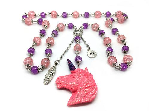 Pink & Purple Long Beads Unicorn Necklace