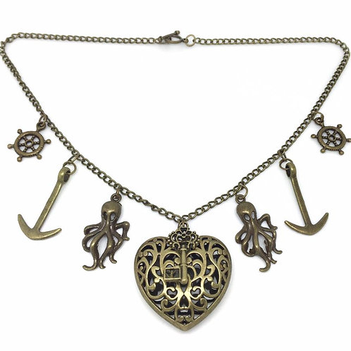 Heart of the Kraken Pirate Charm Necklace