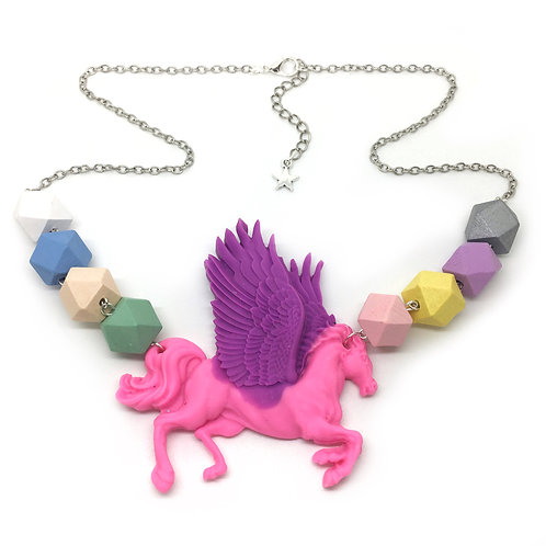 Pastel Geometric Bead Pegasus Necklace