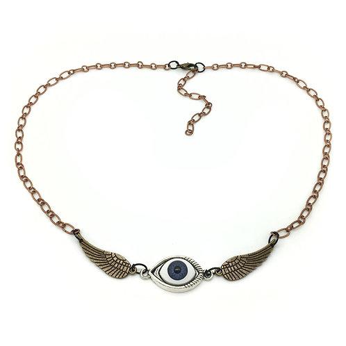 Steampunk Winged Eye Necklace