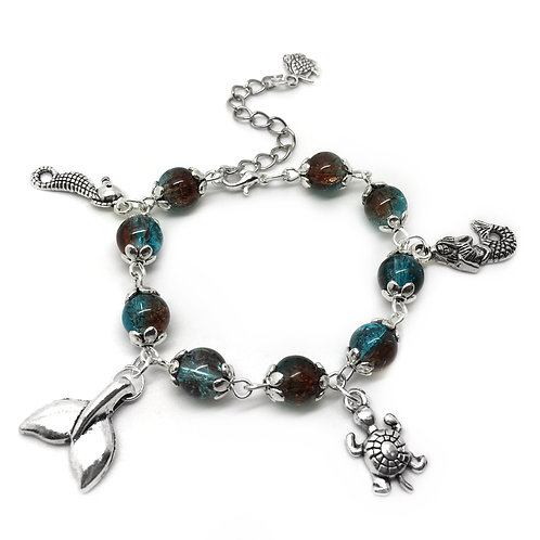 Children's Turquoise Mermaid Charm Bracelet