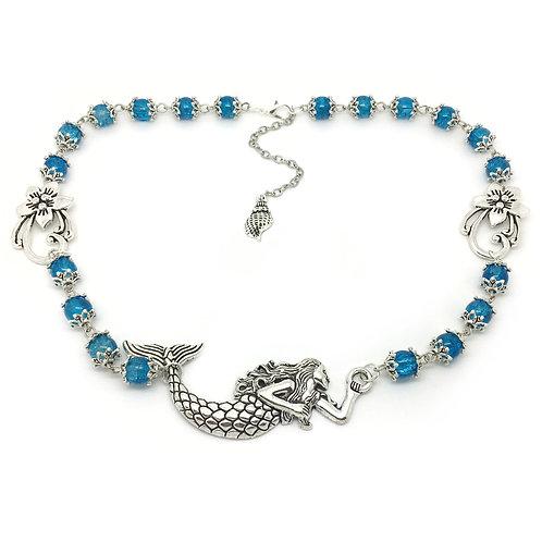 Blue Beaded Mermaid Pendant Necklace