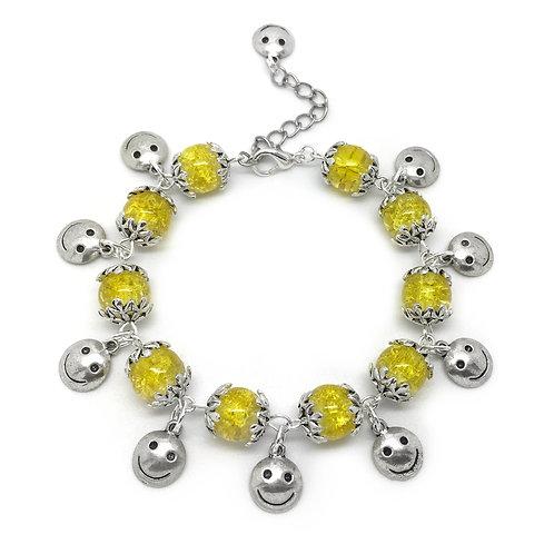 Smiley Face Emoji Yellow Charm Bracelet