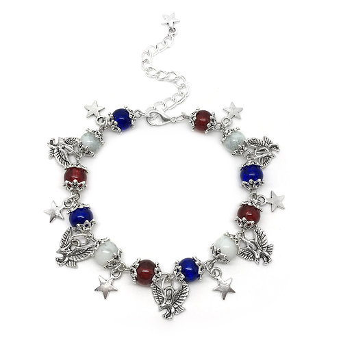 American Flag Thanksgiving Charm Bracelet