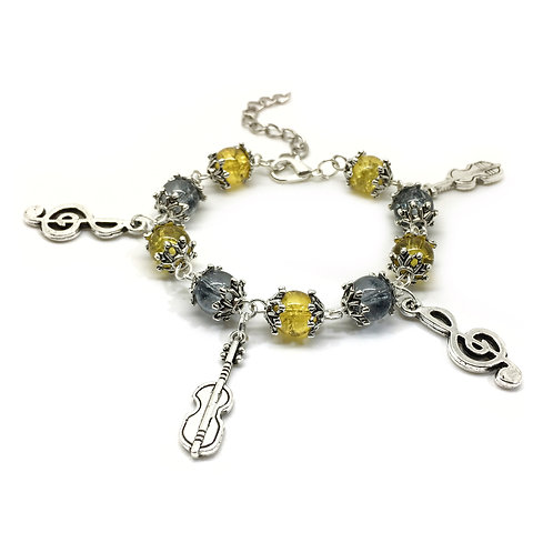 Child's Violin Player Music Charm Bracelet