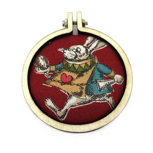 White Rabbit Alice In Wonderland Fabric Necklace