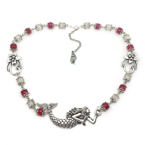 Pink & Clear Bead Mermaid Necklace