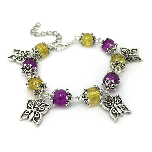 Children's Colourful Butterfly Charm Bracelet