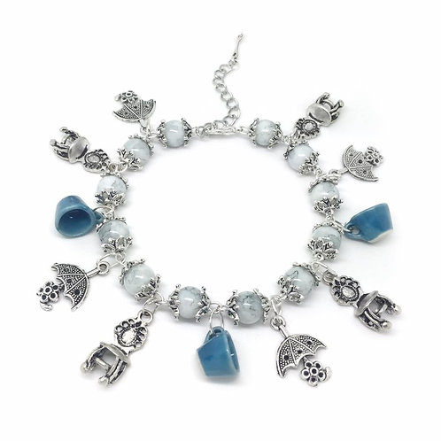White Beaded Alice Tea Party Charm Bracelet