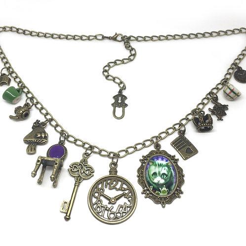 Alice In Wonderland Statement Charm Necklace