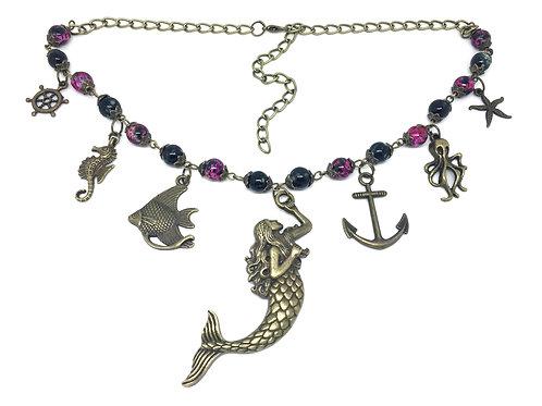 Pink & Black Mermaid Charm Necklace