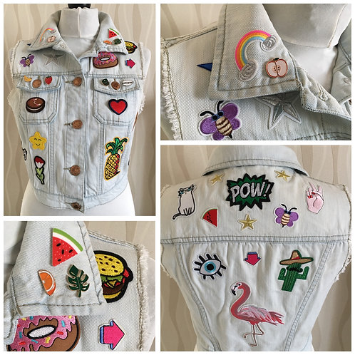 Sleeveless Denim Summer Patch Jacket