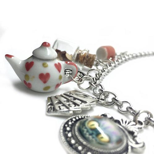 Mad Hatter's Teapot Wonderland Charm Necklace