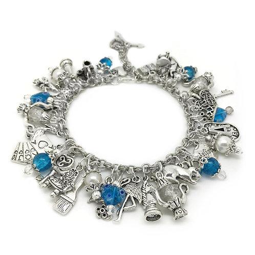 Blue Alice In Wonderland Cluster Charm Bracelet